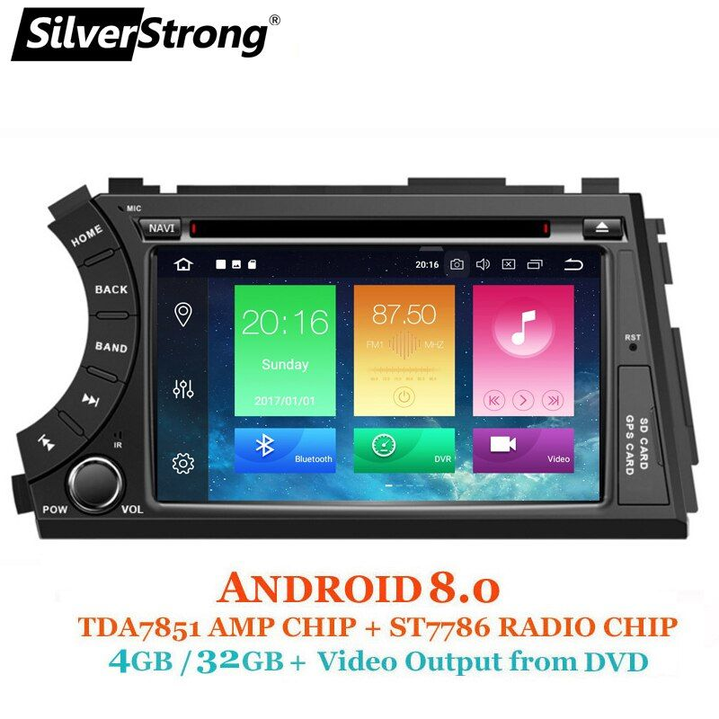 SilverStrong 2DIN Android8.0-8.1 4G 32GB OctaCore Car DVD GPS For SsangYong Actyon Kyron 2G16G DSP WiFi OBD DAB+