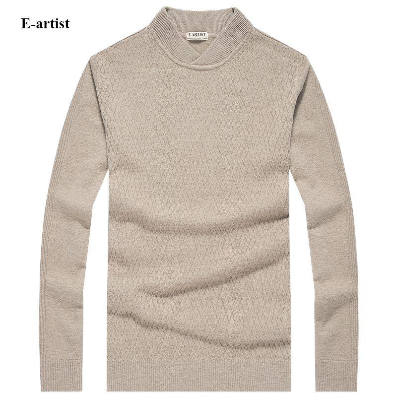 E-artista hombres Ocasionales de Alto Cuello En V Suéteres de Lana de Punto Masculino Pullover Jumper Kintwear para Otoño Invierno Plus tamaño 5XL M04