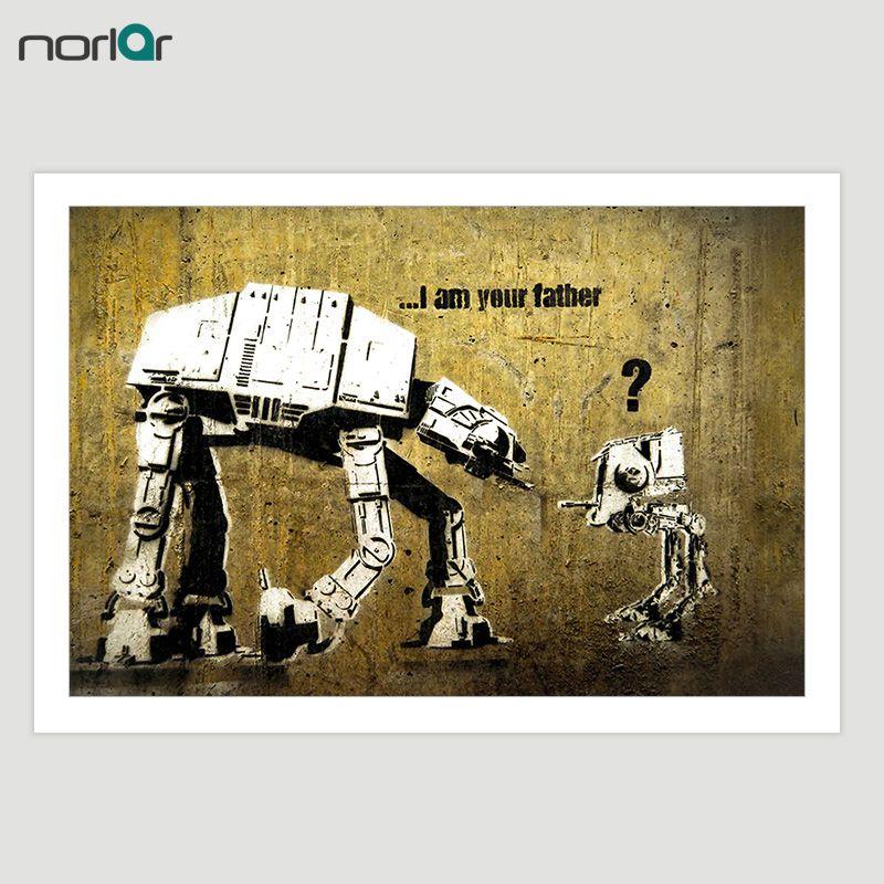 HD Imprimé Bansky Rue Art Graffiti Drôle Star Wars Toile Peinture Affiche Wall Art Image Home Decor NO Frame