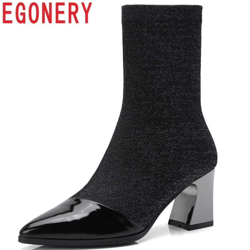 EGONERY high quality newest popular genuine leather and stretch fabric shoes pointed toe high hoof heels slip-on mid calf boots