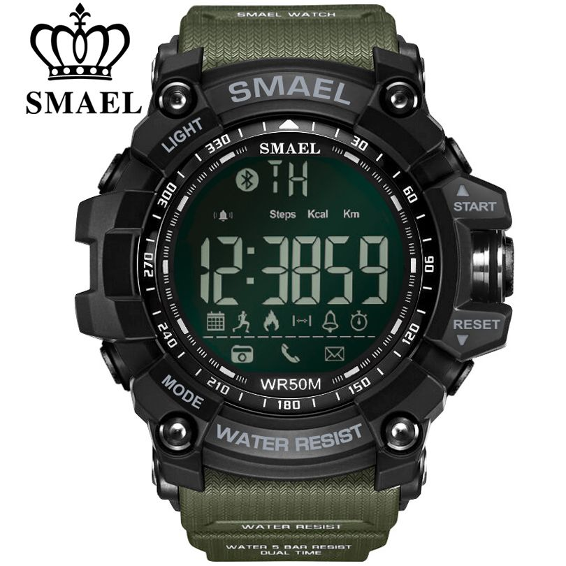 SMAEL Mens Bluetooth Chronograph Watches Sport Male Clock Reminder Stop Watch Digital Men Wearable Devices For ios Android Phone