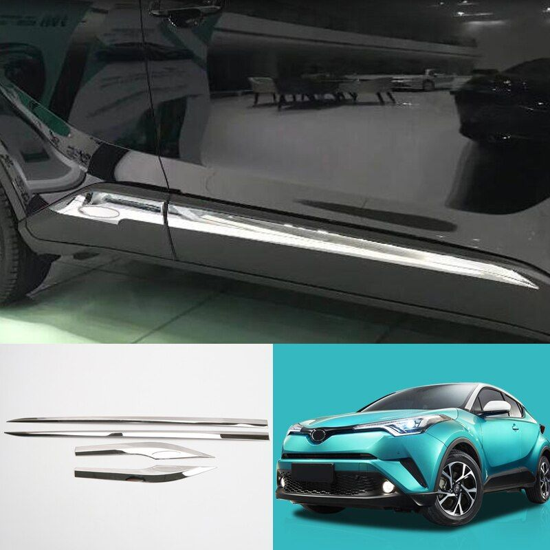 Car Styling 4PCS Stainless Steel Side Door Car Body Moulding Strips Decorative Cover Trim For Toyota C-HR CHR 2016 2017 2018