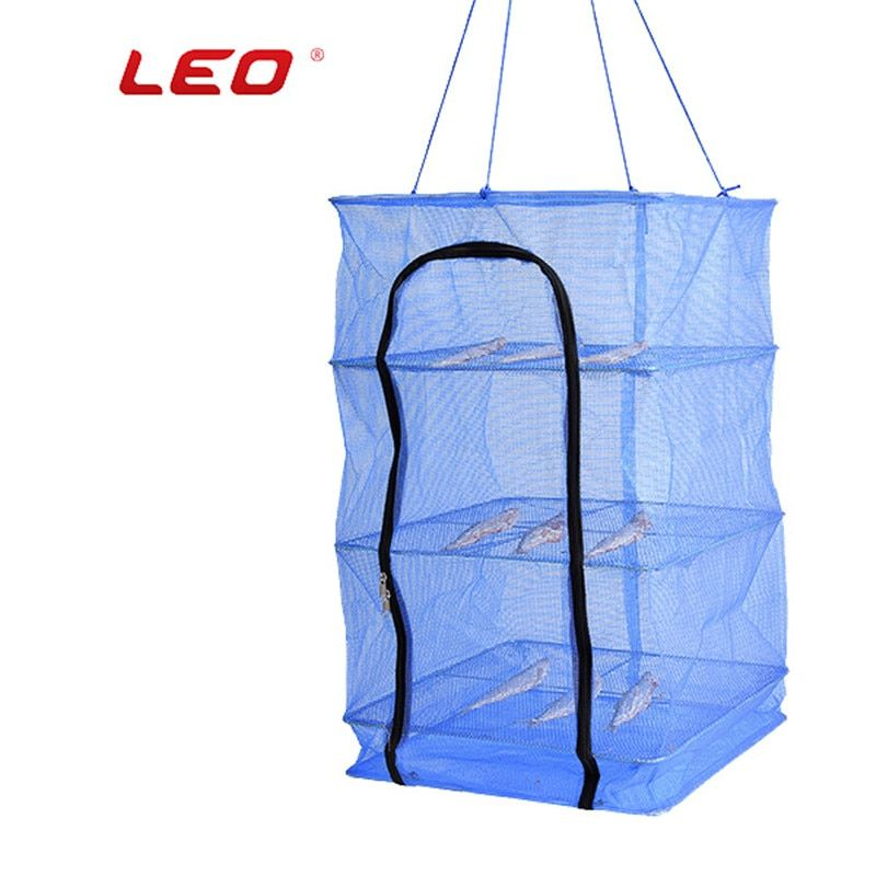 LEO Fishing Net 27702 Fish Dryer Net 35/40/45/50CM Folding Outdoor Camping Dried Shrimp Fishing Gear Mosquito Repellent Pesca