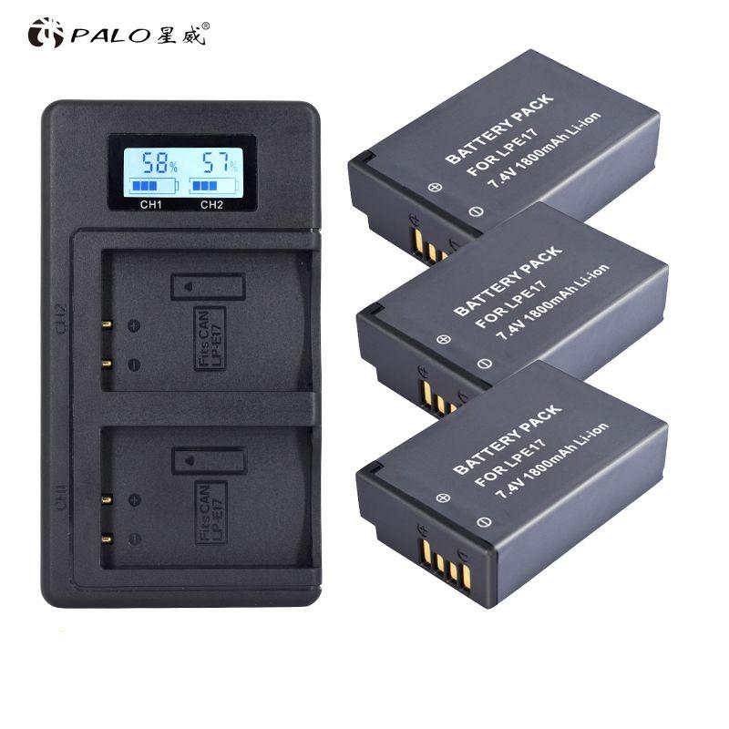 PALO LP-E17 LPE17 LP E17 Battery Batterie AKKU + LCD Dual Charger for Canon EOS 200D M3 M5 M6 750D 760D T6i T6s 800D Kiss X8i