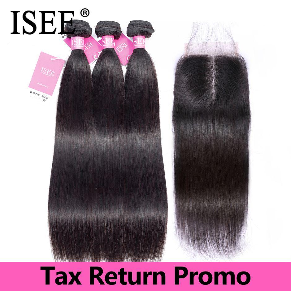 Straight Hair Bundles With Closure Virgin ISEE HAIR Bundles Straight Hair With Closure Malaysian Human Hair Bundles With Closure