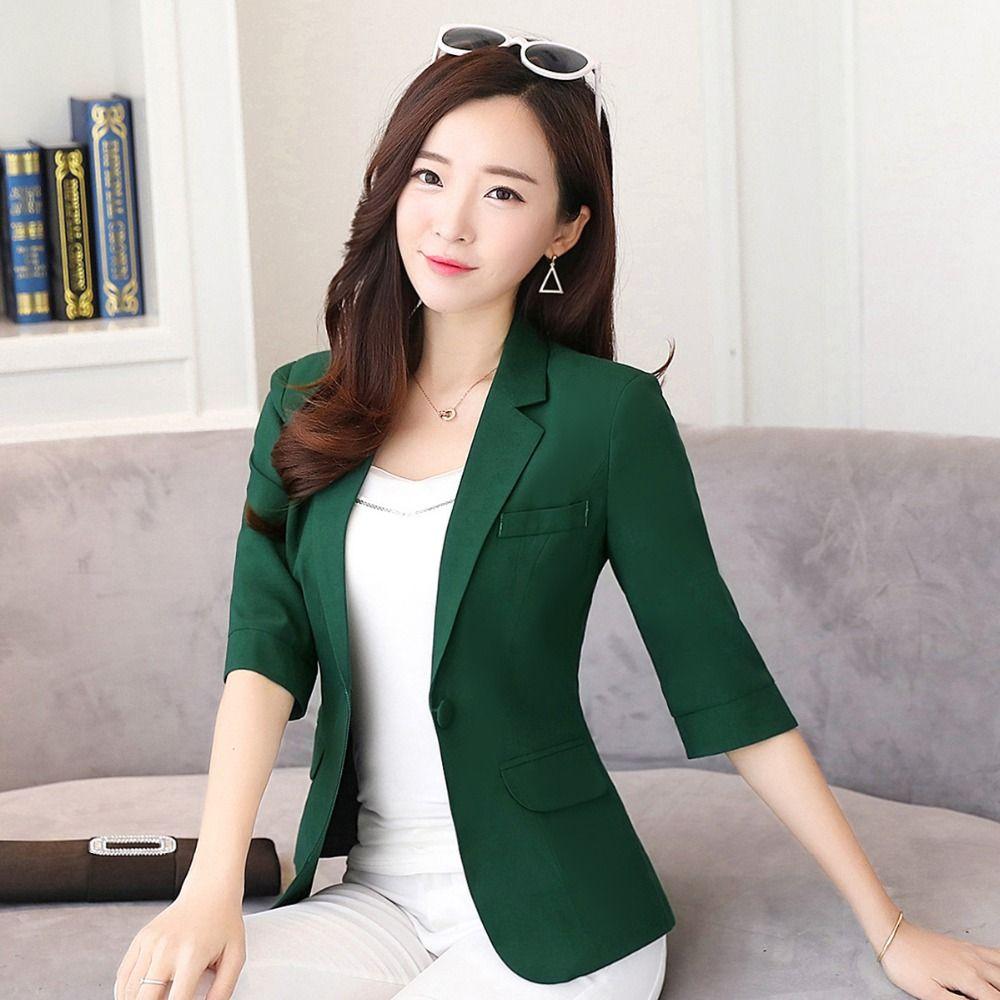 2019 frauen Arbeit Business Single Button Solide Kerb Kragen Größte Größe 4XL Weibliche Grüne blazer und jacken Tops Y324