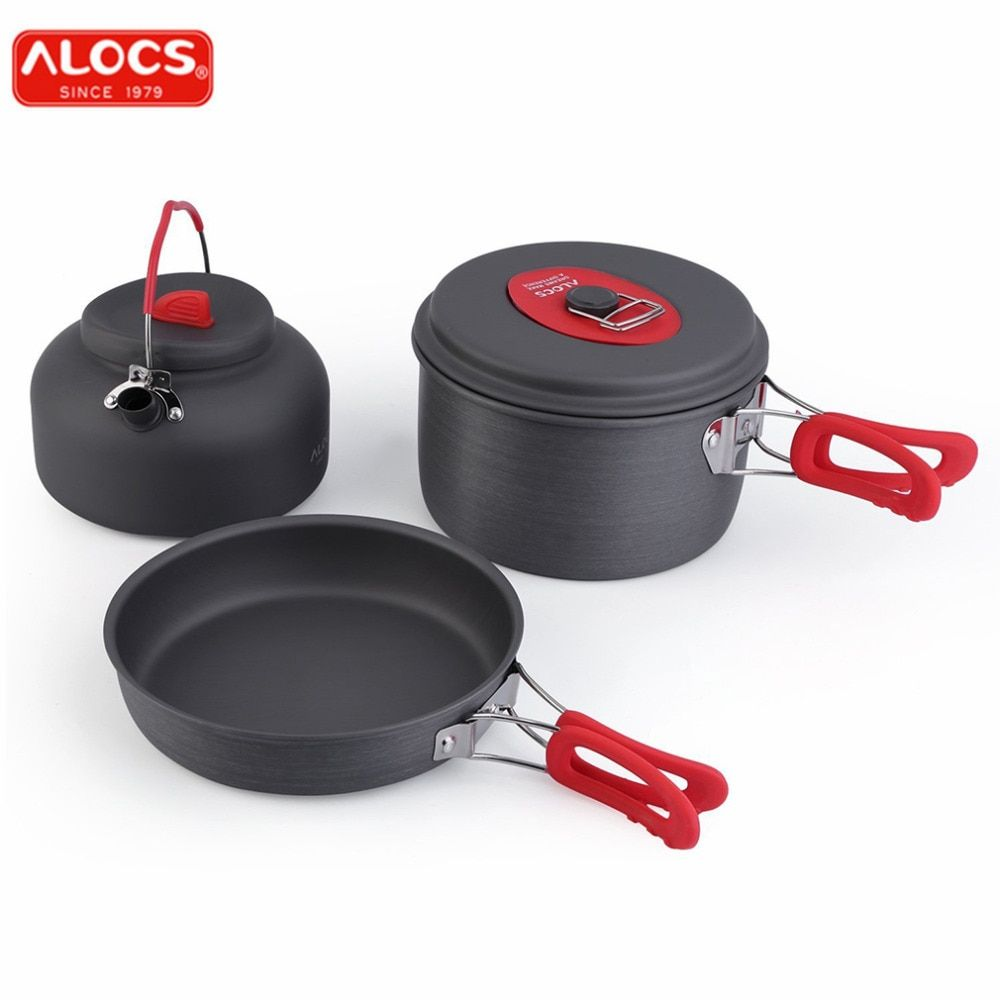ALOCS Non-Stick Aluminum Camping Cookware Ultralight Outdoor Cooking Picnic Set Camp Pot Pan Kettle Dishcloth For 2-3 PeopleC19T