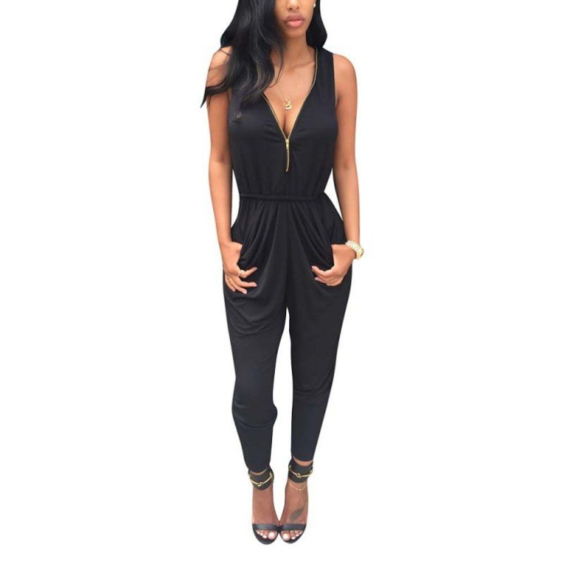 2017 Autumn Winter Fashion Style All-match Casual Rompers Jumpsuits Womens Zipper Sportswear Jumpsuits