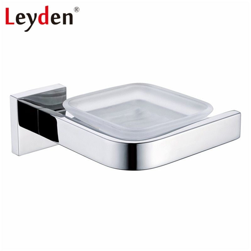 Leyden Single Soap Dish Holder Polished Chrome Finish Stainless Steel Modern Soap Dish Basket Wall Mounted Bathroom Accessories