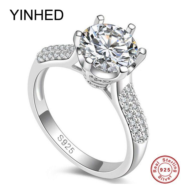 Скидка 95%! Yinhed 2ct круглый Сона CZ Diamant Обручение кольцо Твердые стерлингового серебра 925 Свадебные Кольца для Для женщин штамп S925 zr156