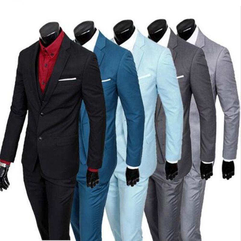 (Veste + pantalon + gilet) 2016 hommes costumes marque business Blazers veste formelle robe hommes costume ensemble mâle mariage marié Tuxedos trois pièces