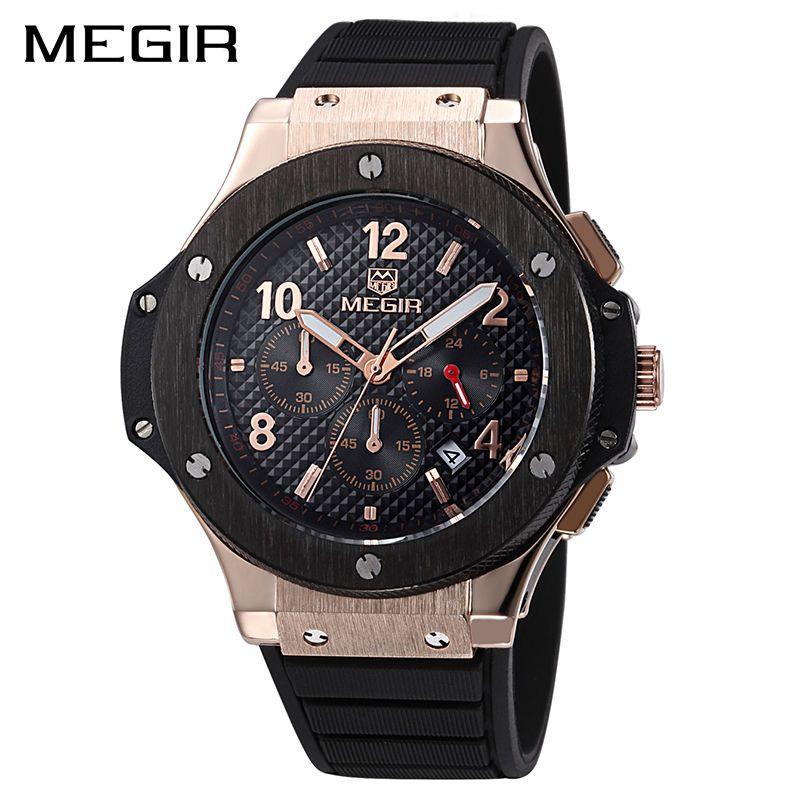 MEGIR Original Quartz Men Watch Big Dial Silicone Sport Military Watches Clock Men Chronograph Wristwatch 3002 Relogio Masculino