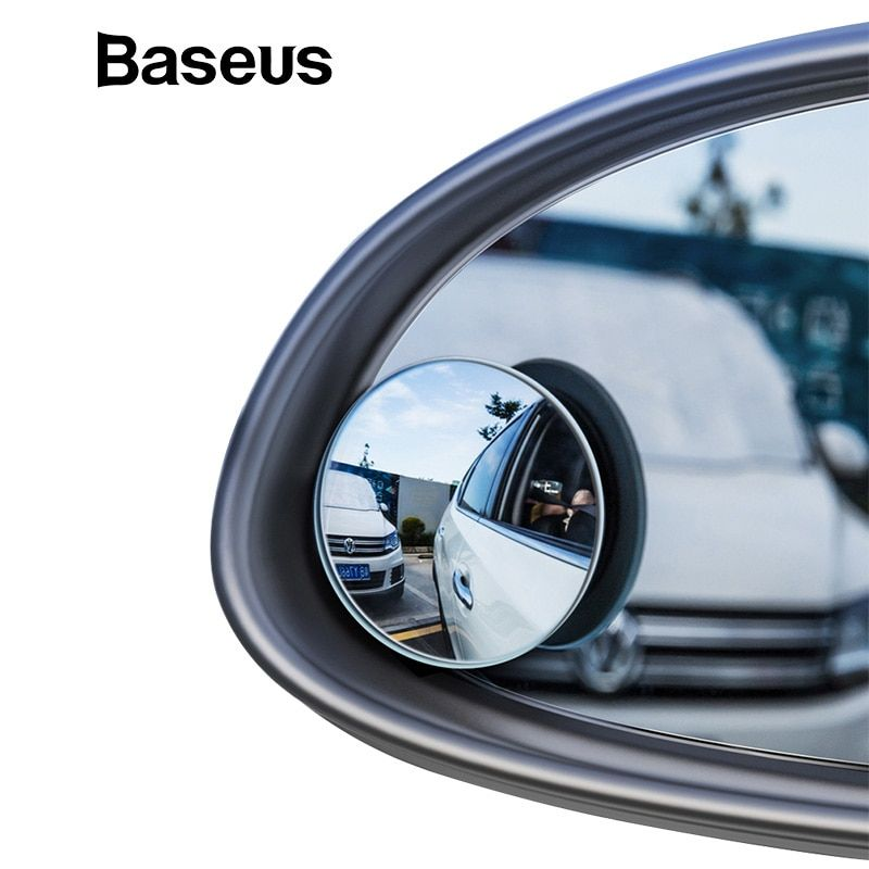 Baseus 2Pcs Car Holder HD Rear View Convex Mirror Auto Rearview Mirror 360 Degree Wide Angle Vehicle Blind Spot Rimless Mirrors