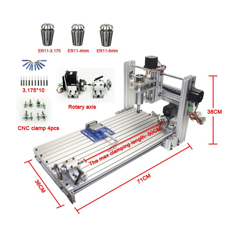 CNC router mini DIY cnc machine 3060 USB port Milling engraving machine 6030 with Mach3 ER11 collet tools kit