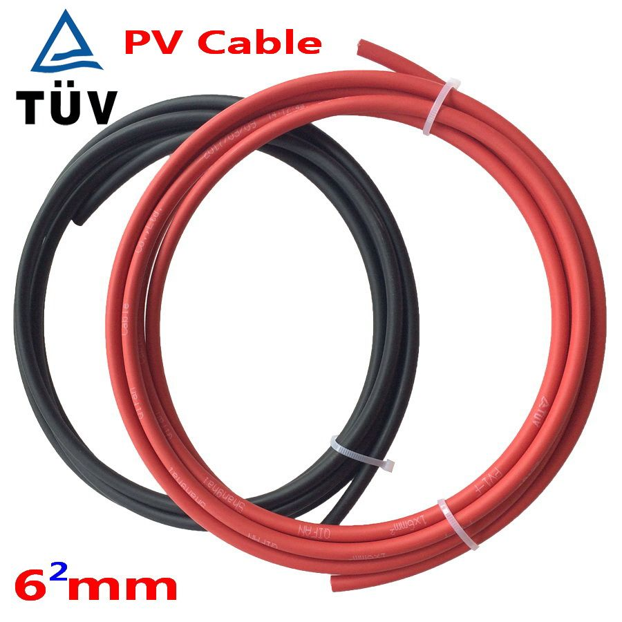 Free Shipping!! 6mm2 Black Red PV Solar Cable Used to Off-grid and Grid Connected PV System Red +Black