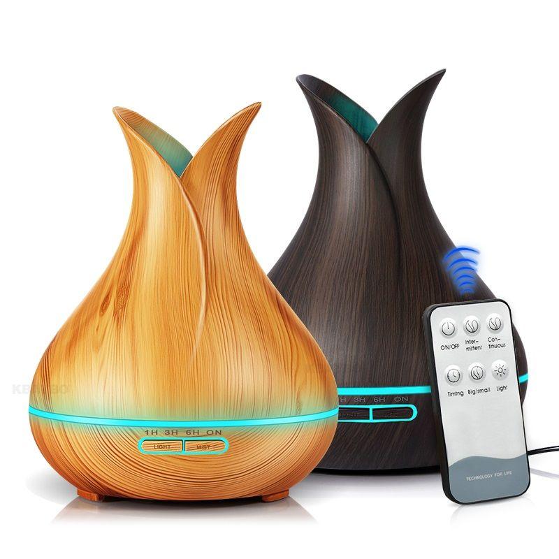 Diffuseur d'huile essentielle d'arome d'humidificateur d'air ultrasonique de 400 ml avec le Grain en bois 7 lumières de LED à couleur changeante pour le salon de chambre à coucher