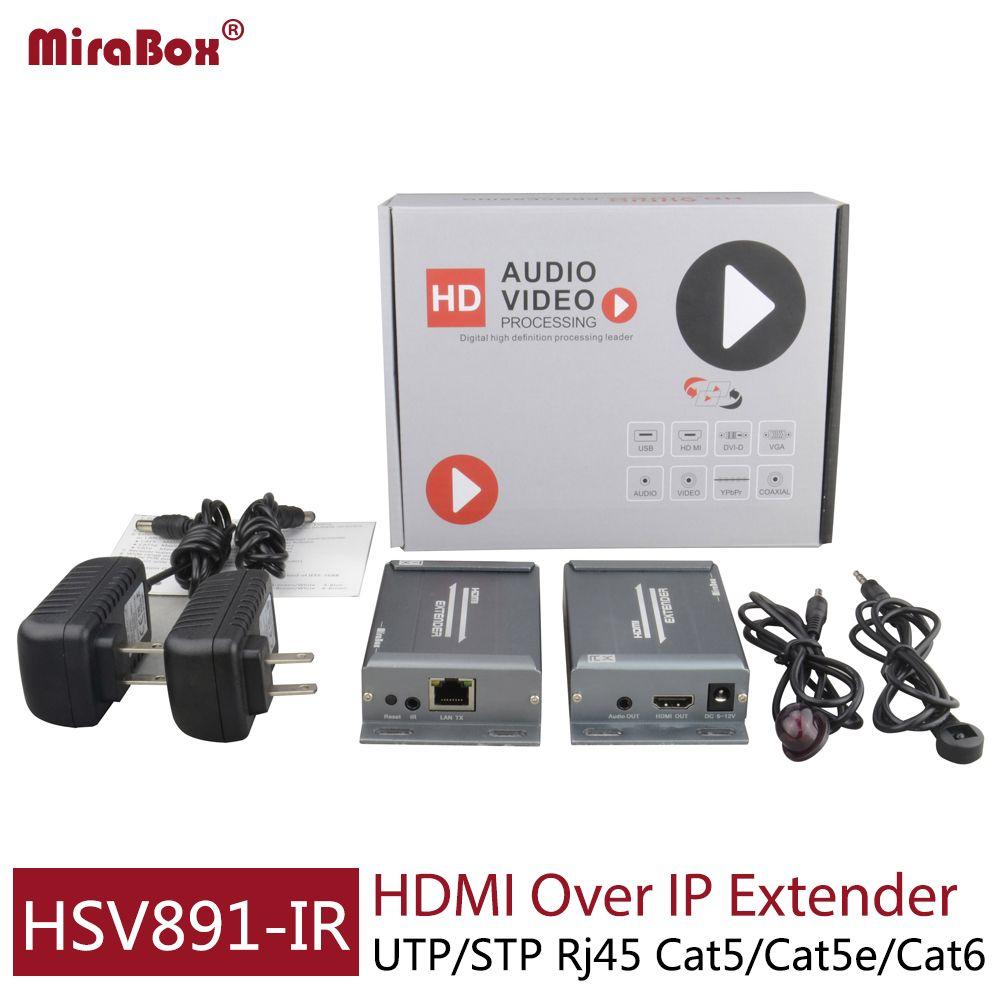 MiraBox HDMI IR Extender 120m Support 1080p 1080I Full HD Over IP/TCP/Cat5/Cat5e/Cat6/LAN Ethernet RJ45 HDMI Extender IR Control
