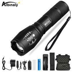 Albinaly Ultra brillante CREE XML-T6/L2 linterna LED 5 modos 8000 lúmenes Zoomable LED antorcha 18650 + cargador + regalo libre
