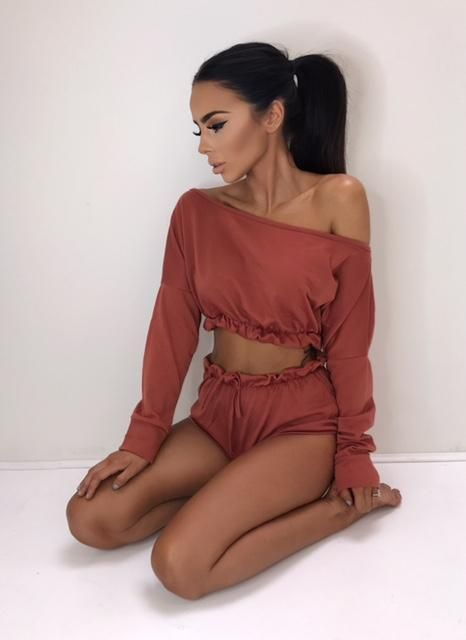 Fashion New Women Ladies Clothing Sets Clubwear Long Sleeve Off shoulder Tops+Short Pants Trousers