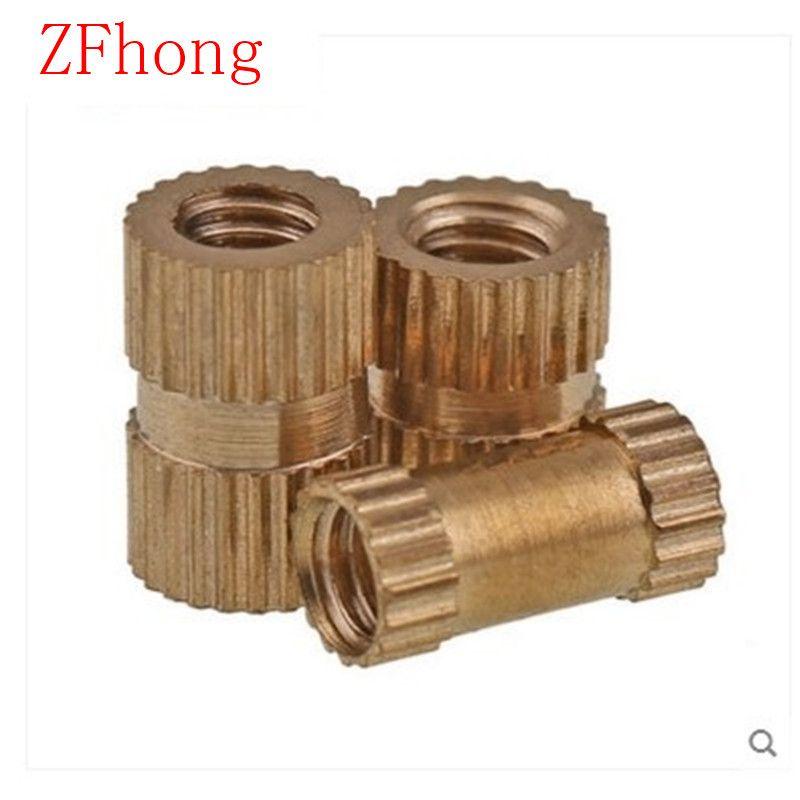 100PCS OD=5.3 M4*4/5/6/8/10/12 brass insert nut / knurled nut / round nut for injection moulding