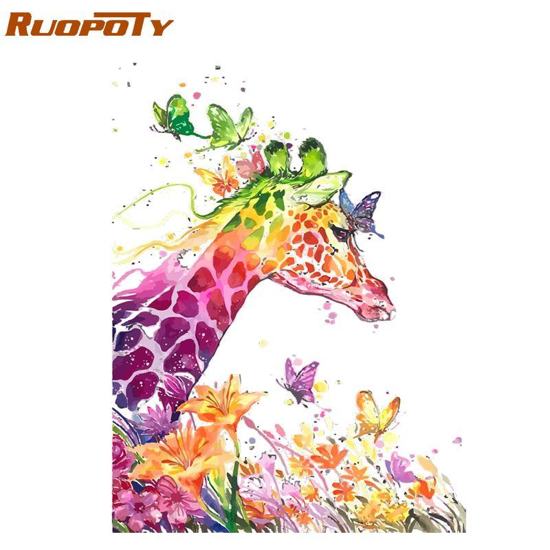 Cadre RUOPOTY dessin animé girafe peinture à la main par numéros animaux moderne mur Art photo cadeau Unique pour décor à la maison œuvre 40x50cm