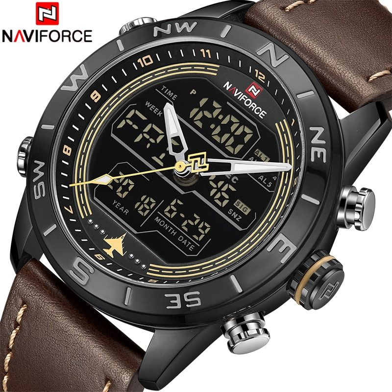 2018 New Men Watches NAVIFORCE Top Luxury Brand Men's Fashion Sport Watch Male Leather Quartz Analog LED Clock Relogio Masculio