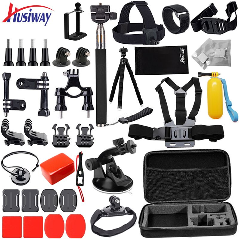 Husiway Accessories Kit for Gopro / Go pro hero 6 5 4 3 Mount for SJ4000 / Xiaomi Yi 4K / Eken Campark Camera 12G