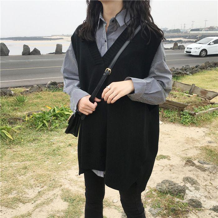 2018 new loose big yards female hedging sweater vest sweater vest round neck wool vest waistcoat