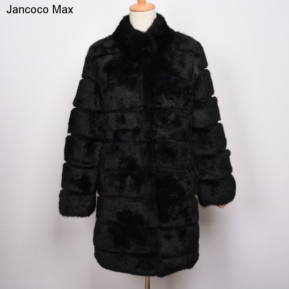 Jancoco Max 2018 New Winter Real Rabbit Fur Jacket Warm Soft Long Fur Coat Women Christmas Dress S1675