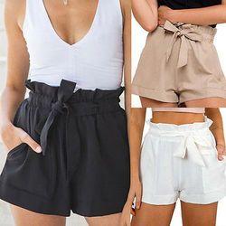 2019 женские новые стильные модные горячие модные женские сексуальные летние повседневные шорты с высокой талией короткие пляжные шорты с ба...
