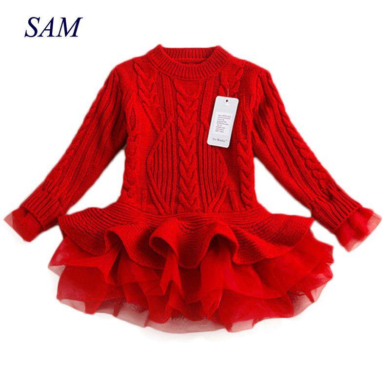 Épais chaud fille robe 2018 noël robe de fête de mariage tricoté en mousseline de soie hiver enfants filles vêtements enfants vêtements fille robe