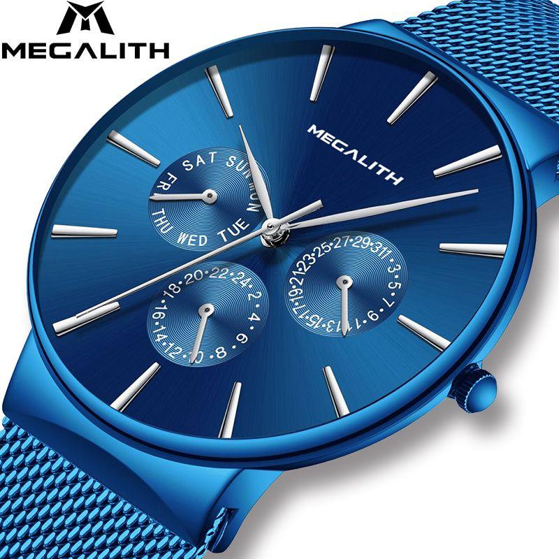 MEGALITH montres hommes Top marque montre de Sport de luxe mince maille en acier Date étanche montre à Quartz pour hommes horloge Relogio Masculino