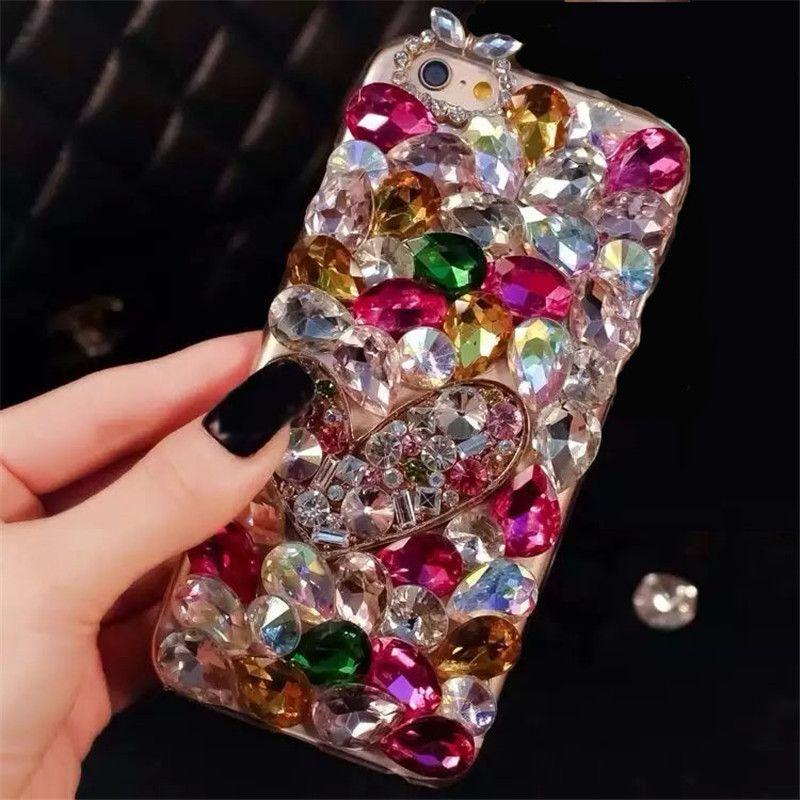 Dot Me Coloré Bijou Bling Coeur Cristal Couverture de Cas De Diamant Pour Samsung Galaxy Note 9 8 5 4 3 S9 s8 S7 S6 Bord Plus A6 A8