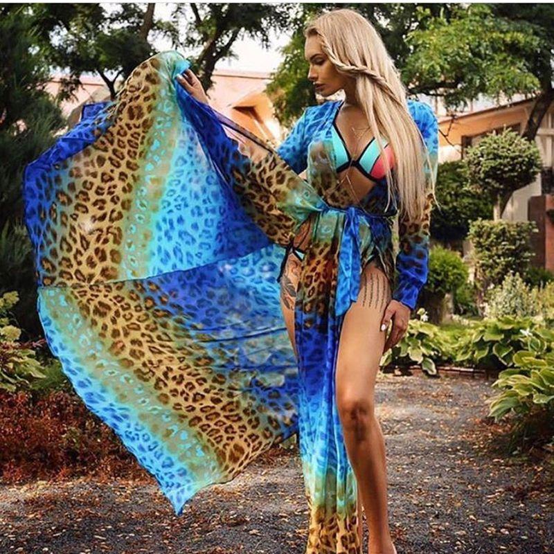 Sexy 2 Split bleu imprimé léopard été plage Maxi robe bohème profonde col en V coupe basse manches longues cravate bretelles longue robe de soirée