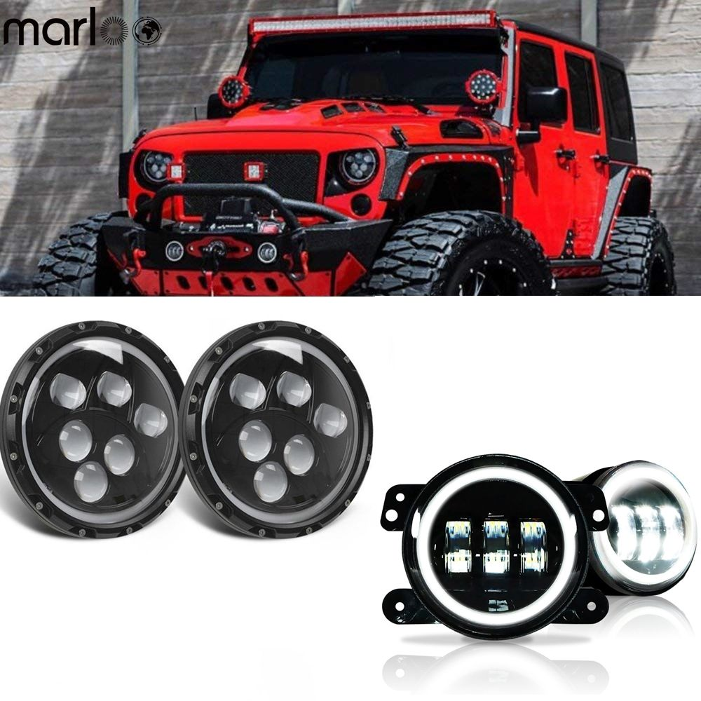 Marloo 7Inch Led Headlights White Halo DRL + Pair 4Inch Front Bumper Fog Lights For 2007-2018 Jeep Wrangler JK Rubicon