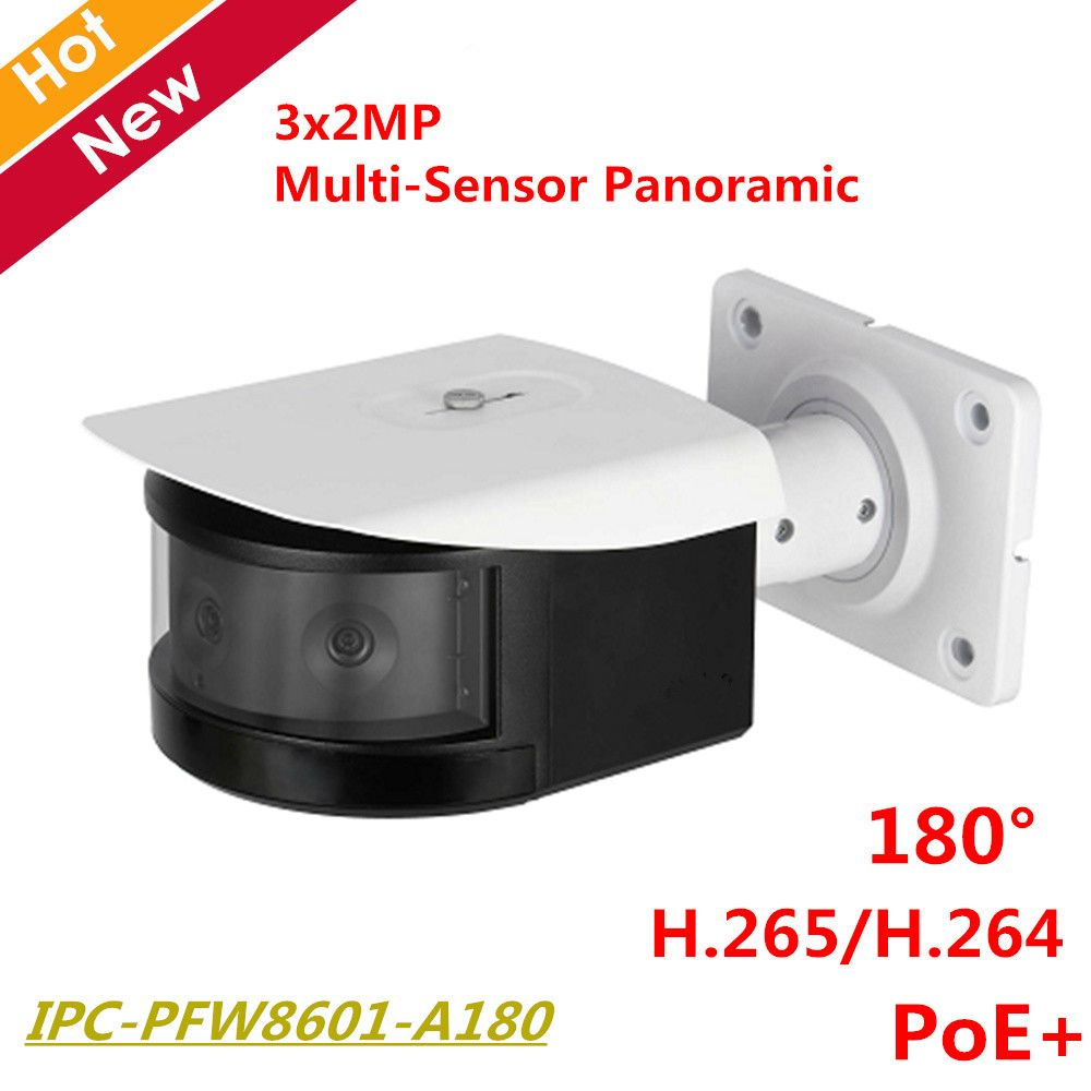 DH HD 180 Degree Panoramic IP Camera 3x2MP Panoramic IR Night Vision Bullet Camera IR30m Support POE+ IPC-PFW8601-A180