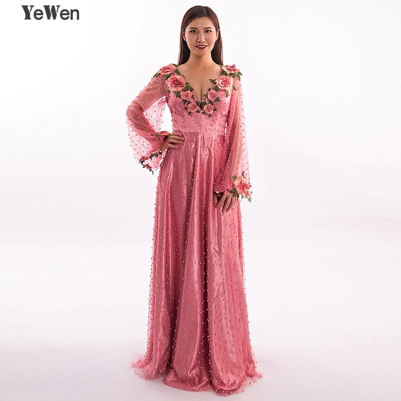 Princess Sexy Long sleeve Pearls Flower A-line Formal Evening Dresses Gown prom dress elegant party Dubai Dress 2018 YeWen