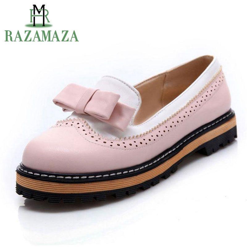 RAZAMAZA Big Size 32-43 Spring Autumn Slip On Women Shoes Cute Bowtie Lace Shallow Mouth Ladies Platform Shoes