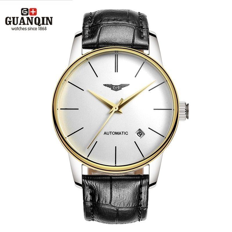 GUANQIN Men Watches Automatic Mechanical Man Thin Water Resistant Watches Japan Movement Watch with Genuine Leather Strap Clock