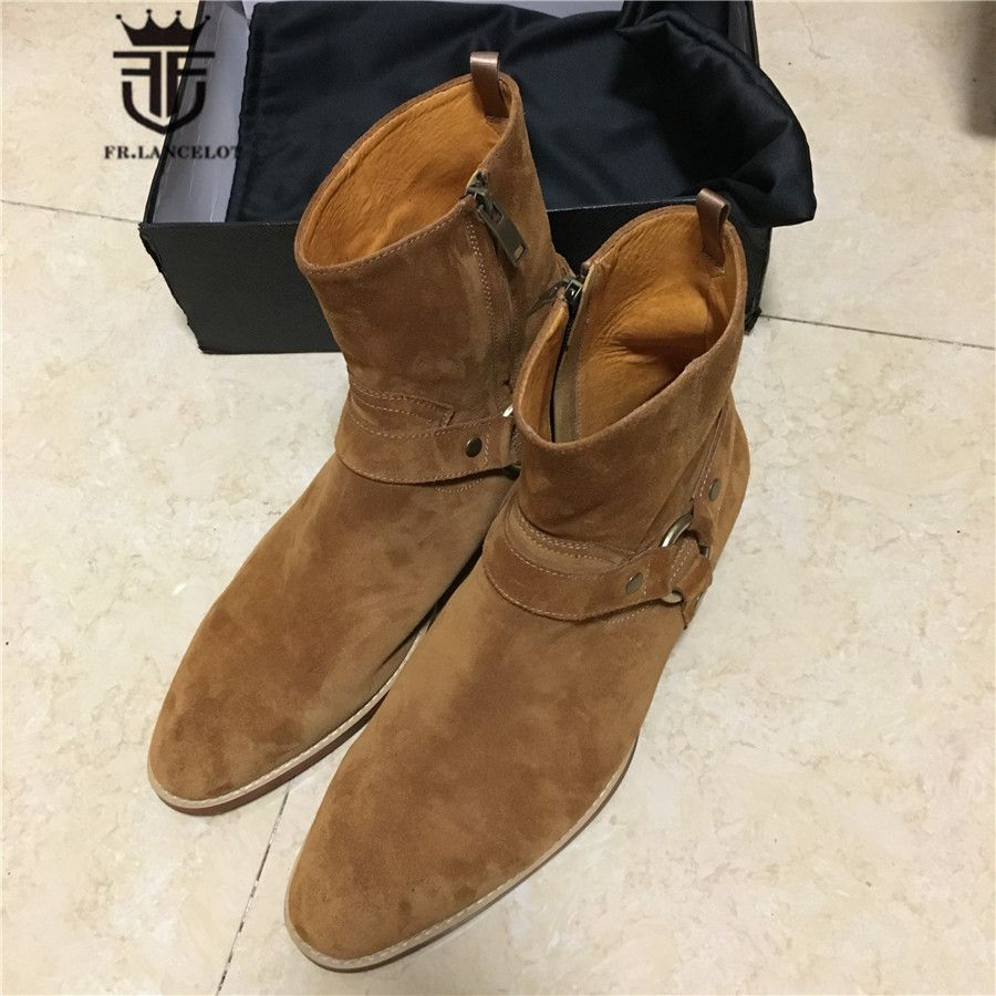 Real Picture Luxury Handmade Personalized SLIM Buckle Strap Chelsea Men Boots Genuine Leather High Top Suede Street Boots