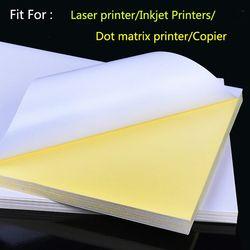 50 Feuilles A4 Laser Jet D'encre Imprimante Copieur Papier Kraft Blanc Auto-Adhésif Autocollant Étiquette Mat Surface Feuille De Papier