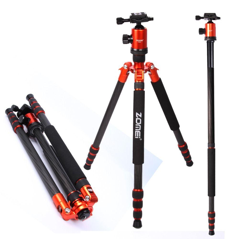 Flagship ZOMEI tripod Orange Z818C Professional Travel Carbon Fiber camera tripod Monopod&Ball head with case for DSLR camera