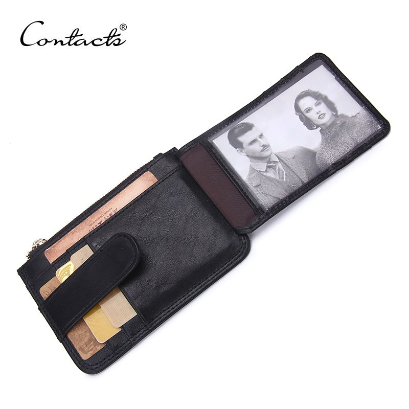 CONTACT'S Thin Wallet Zipper&Hasp Brand Design Genuine Leather Card Holder Coin Pocket Bifold Male Purse High Quality Card Bag