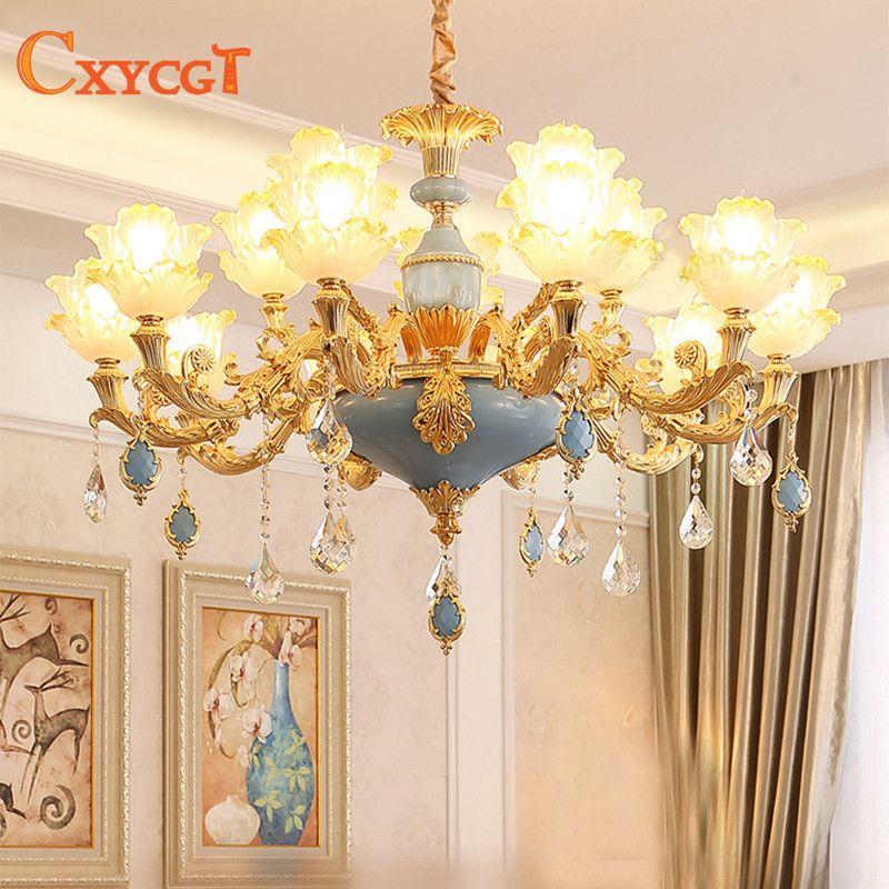 Modern Gold Crystal Ceiling Chandelier Lighting for Living Room Bedroom Wedding Decoration Lamp Lotus Hanging Suspension Lamp