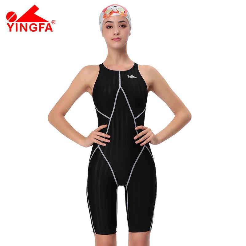 Yingfa FINA approved one piece competition knee length waterproof chlorine resistant women's swimwear sharkskin swimsuit