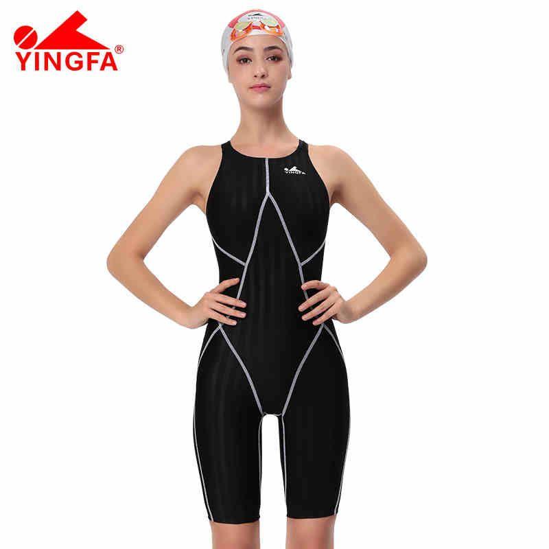 Yingfa FINA genehmigt ein stück wettbewerb knielangen wasserdicht chlorbeständig badebekleidung der frauen haifischbademodenkastenbadehose