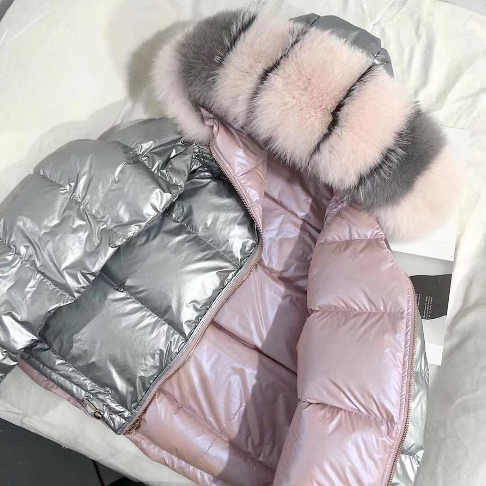 Frauen Winter Jacke Unten Mantel Echt Fox Pelz Kragen Unten Parka Oberbekleidung Dicke Warme Winter Kleidung 2018 Mode Ente Unten jacke