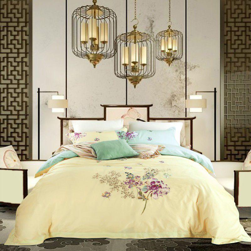 Роскошные вышивки bedlinens из египетского хлопка постельного белья 4 шт. королева король размер пододеяльник + Плоский лист + наволочки