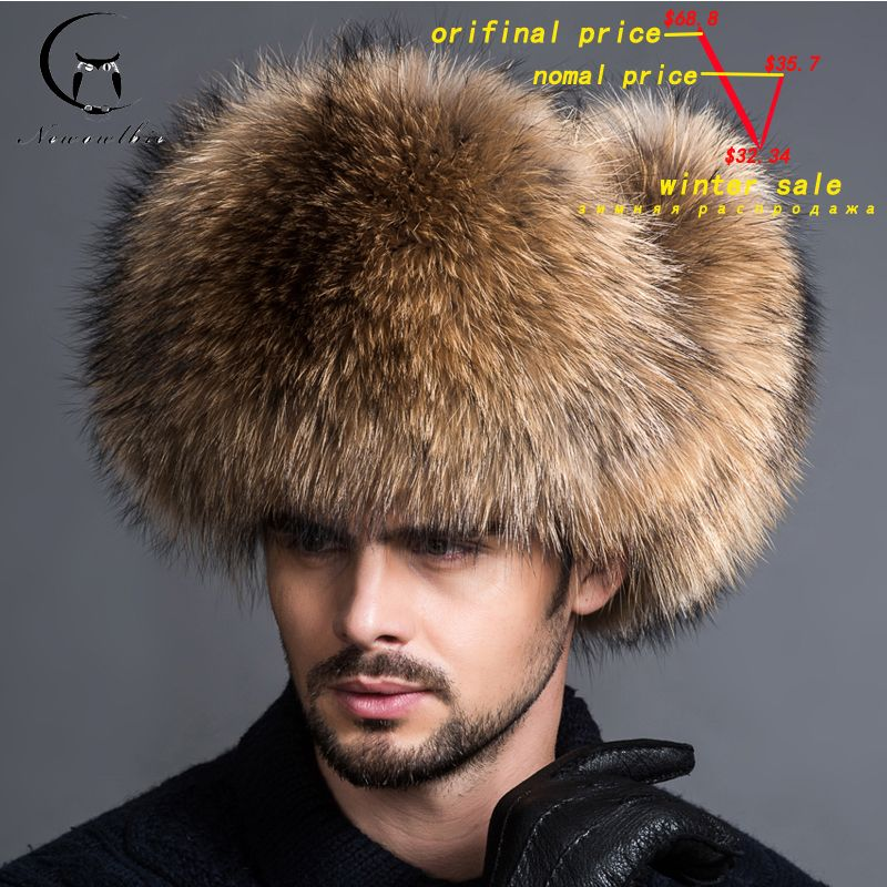 2018 NEW Natural Color Fur Hat Siberian <font><b>Style</b></font> Fur Hat Raccoon Full Ushanka Hat for middle-aged cotton cap Lei Feng hat