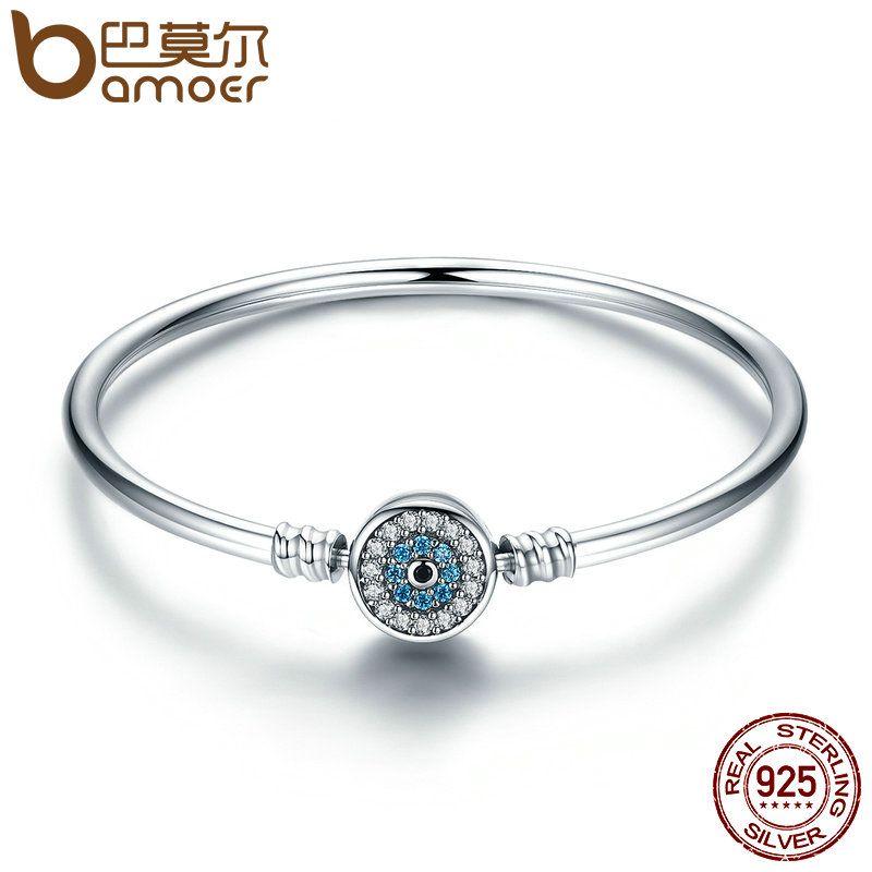 BAMOER Hohe Qualität Authentische 925 Sterling Silber Blau Augen Klar CZ Schlange Kette Herz Armreif & Armband Luxus Schmuck SCB012